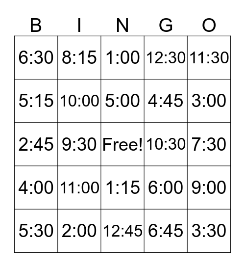TIME for BINGO Card