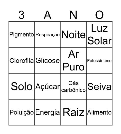 Bingo da Fotossíntese Bingo Card