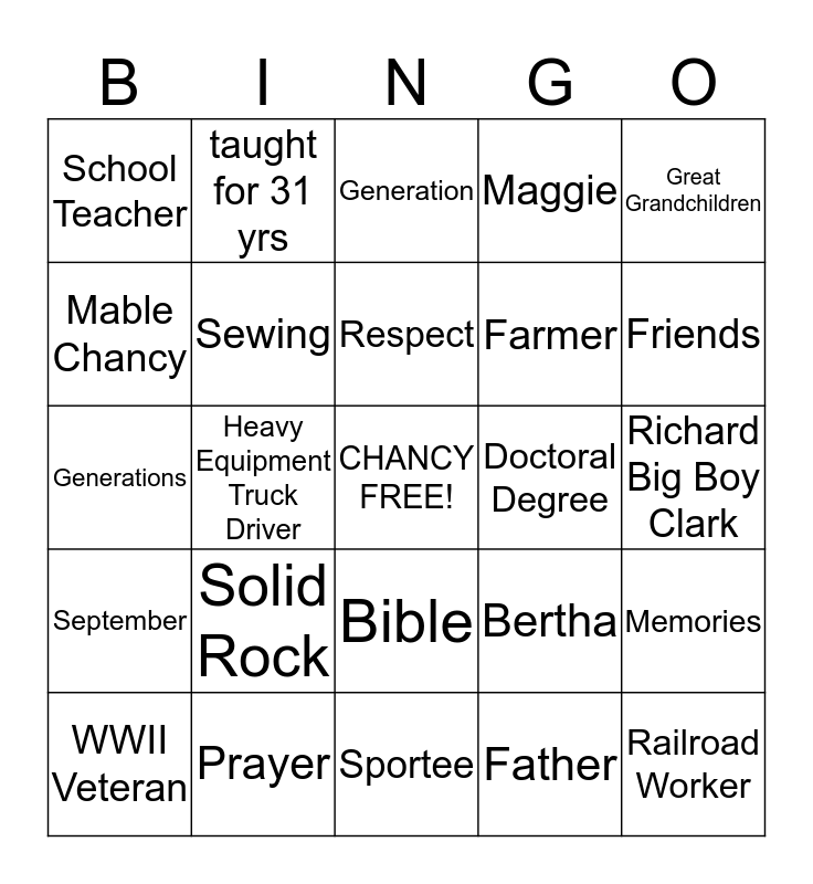 CHANCY  Bingo Card