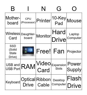Computer Parts Bingo Card