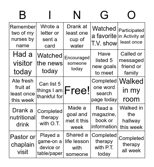 What Can I accomplish from here:  Bingo Card