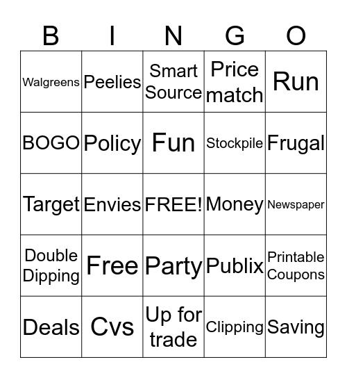 Coupon Bingo Card