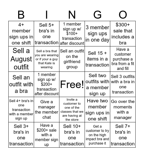 Fabletics August Bingo Card
