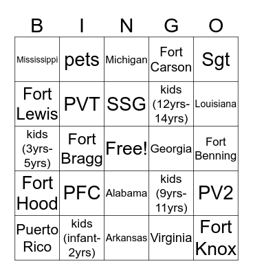 41st TC FRG BINGO Card