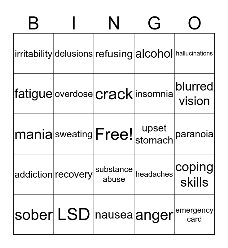 Substance Abuse Bingo Card