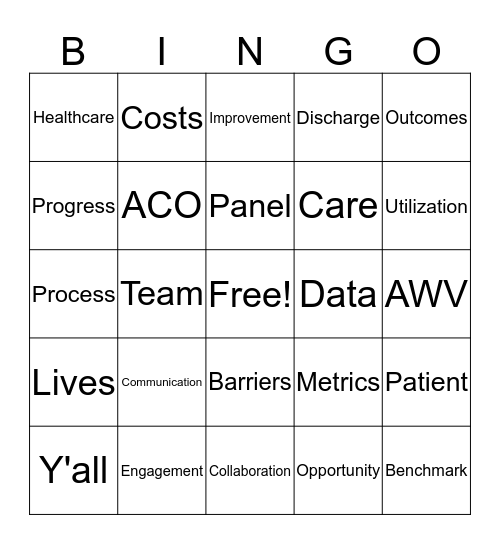 Friday Bingo Card