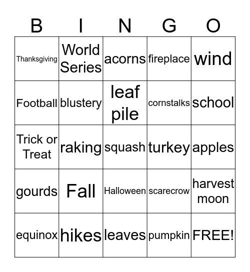 Room 104 Fall Festival Bingo! Bingo Card