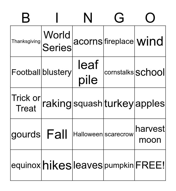 Room 104 Fall Festival Bingo! Bingo Card