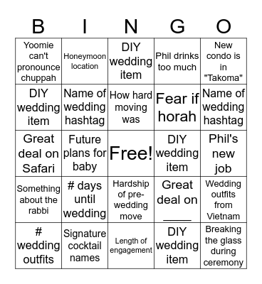 Wedding shower Bingo Card