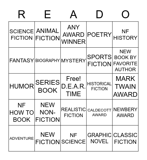 LIBRARY READO -4th -5th -6th Bingo Card