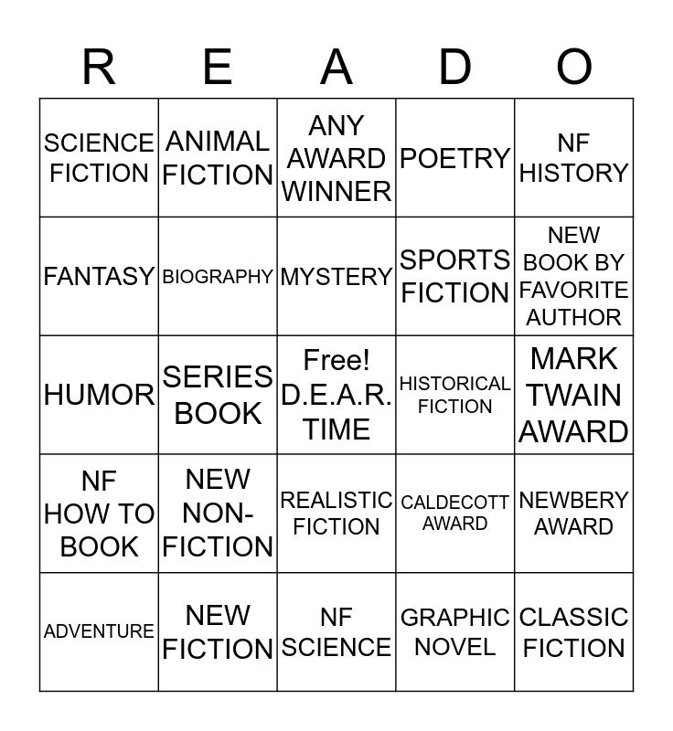 LIBRARY READO -4th -5th -6th Bingo Card