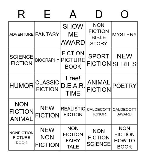 LIBRARY READO -1st -2nd -3rd Bingo Card