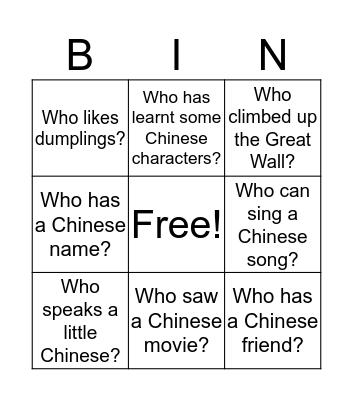 找找看 Find someone  Bingo Card
