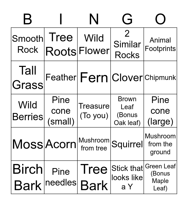 Nature Scavenger Hunt Bingo Card