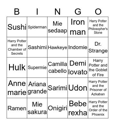 Aqu mao menang Bingo Card