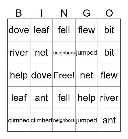 Ant & Dove Bingo Card