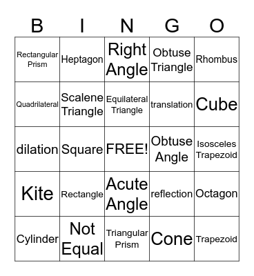 Geometry! Bingo Card