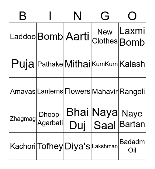 !! Shubh Deepawali !! Bingo Card