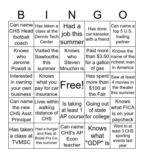 First Day Econ Bingo Card