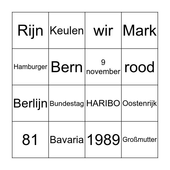 Kennismakingsbingo Duits (klas 2 VWO) Bingo Card