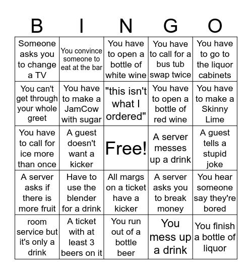 Bartender's Bingo Card
