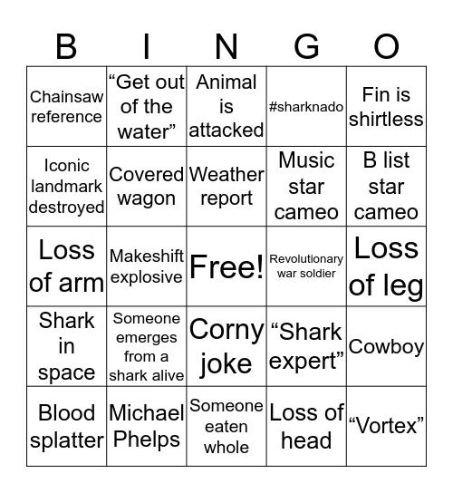 Sharknado Bingo Card