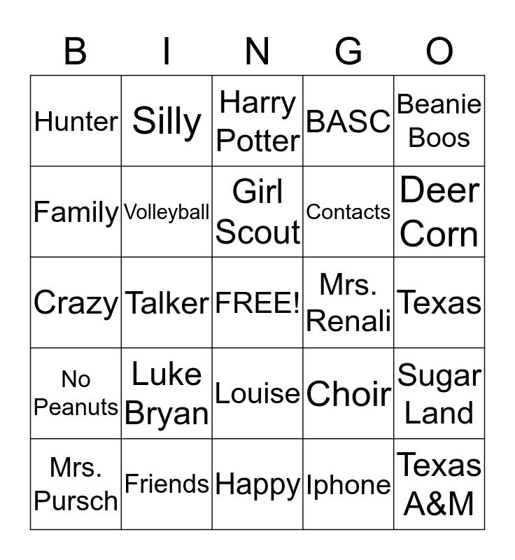 Caitlin's 11th Birthday!! Bingo Card