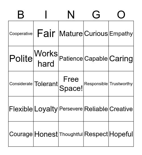 Character Traits Bingo Card