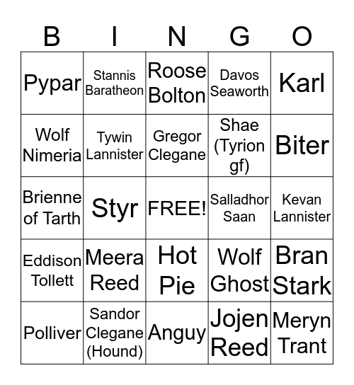 GoT Bingo Card