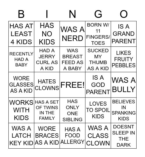 BABYSHOWER Bingo Card