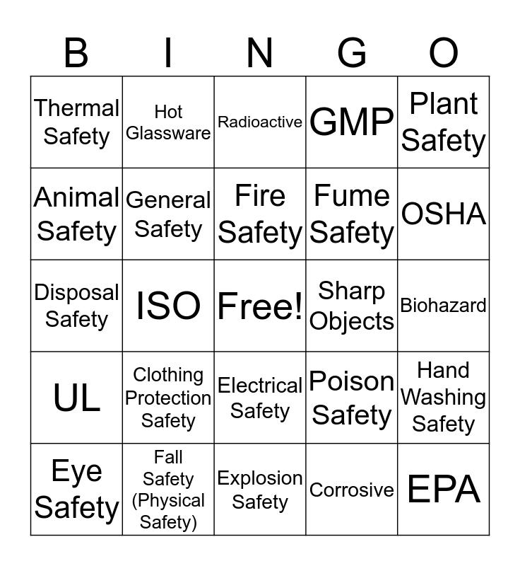 Safety Symbol Bingo Card