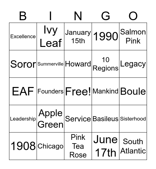SUO Chapter Retreat Bingo Card