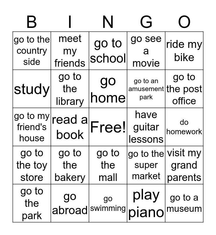 I will... Bingo Card
