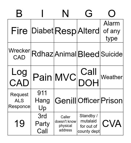 Dispatcher Bingo  October - November Bingo Card