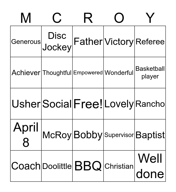 Life Time Achievement Bingo Card
