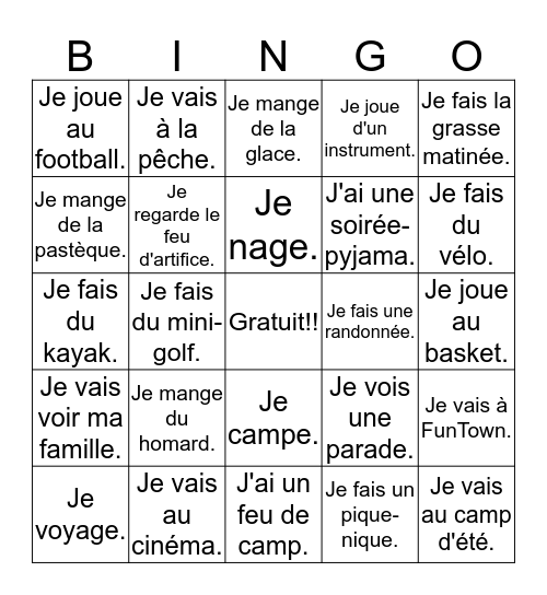 L'été Bingo Card