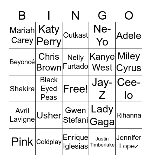 Pop 2000s Bingo Card