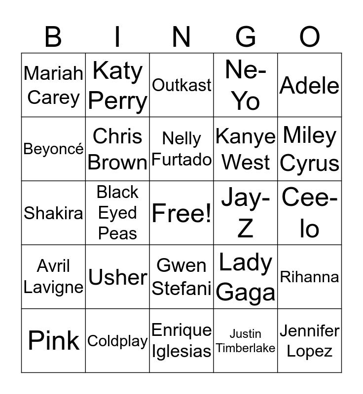Pop 2000s Bingo Card