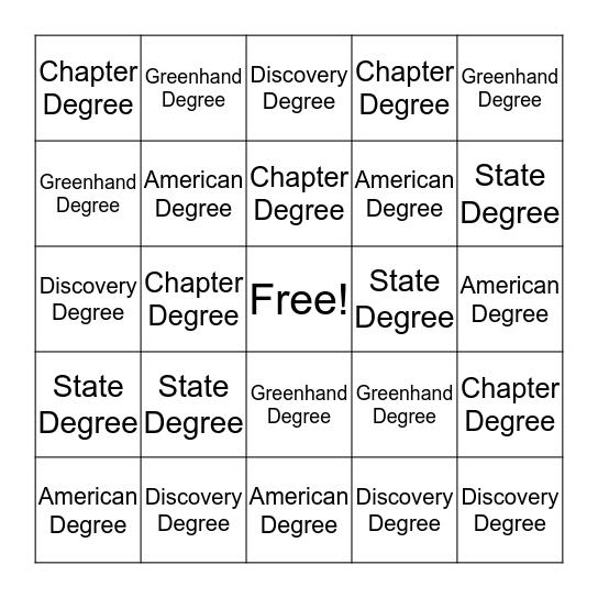 FFA Degree Bingo Card
