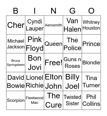80s Bingo Card