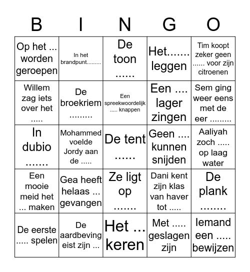 Gea's Bingo Part One! Bingo Card