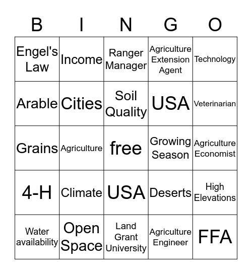Agriculture Bingo Card