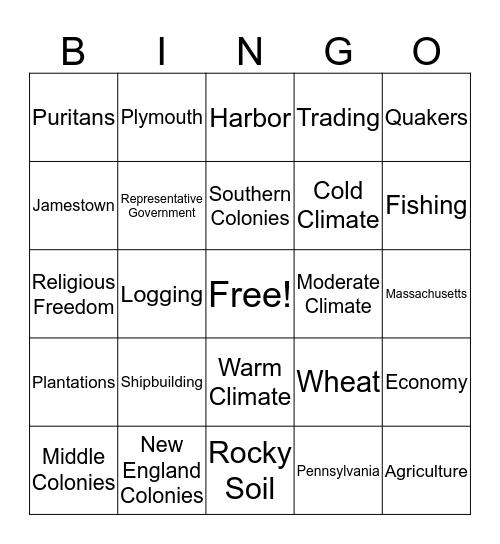 Regions of 13 colonies Bingo Card
