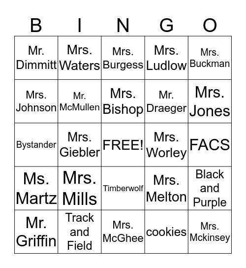 Mission Trail Middle School Bingo Card