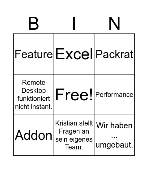 SprintBeer Bingo Card