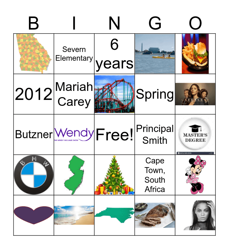 Ms. Robinson Bingo Card