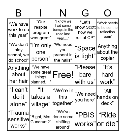 WWOS (What Will Odom Say?) Bingo Card
