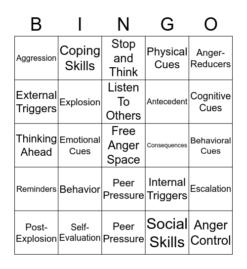 Anger Management  Bingo Card