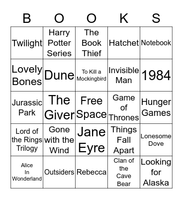 BOOKS Bingo Card