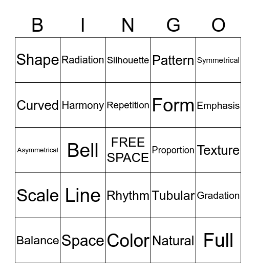Elements and Principles of Design Bingo Card